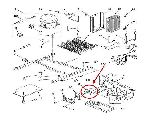 Whirlpool Part 2225834 Fan Blade Oem
