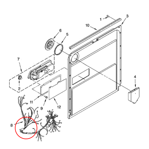 whirlpool part  w10413103 wire harness  oem