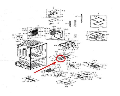 Samsung    Part  DA6402235A Pantry Shelf Glass  OEM