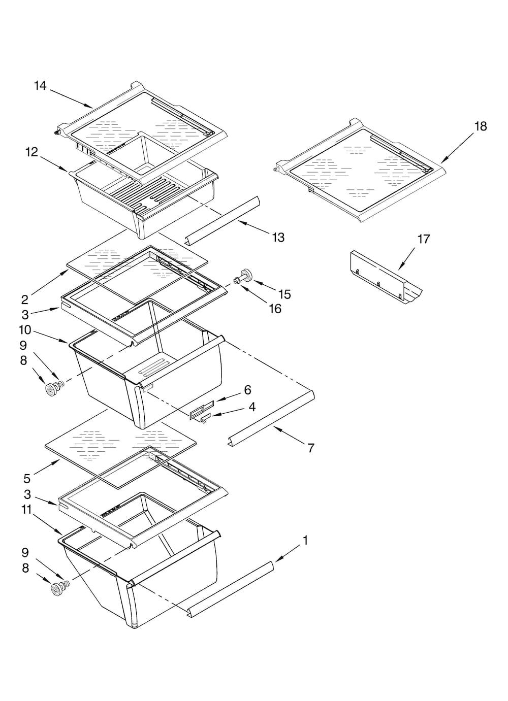 Kenmore 106.59422800 Shelf Frame with Gl (crisper cover) - Genuine on