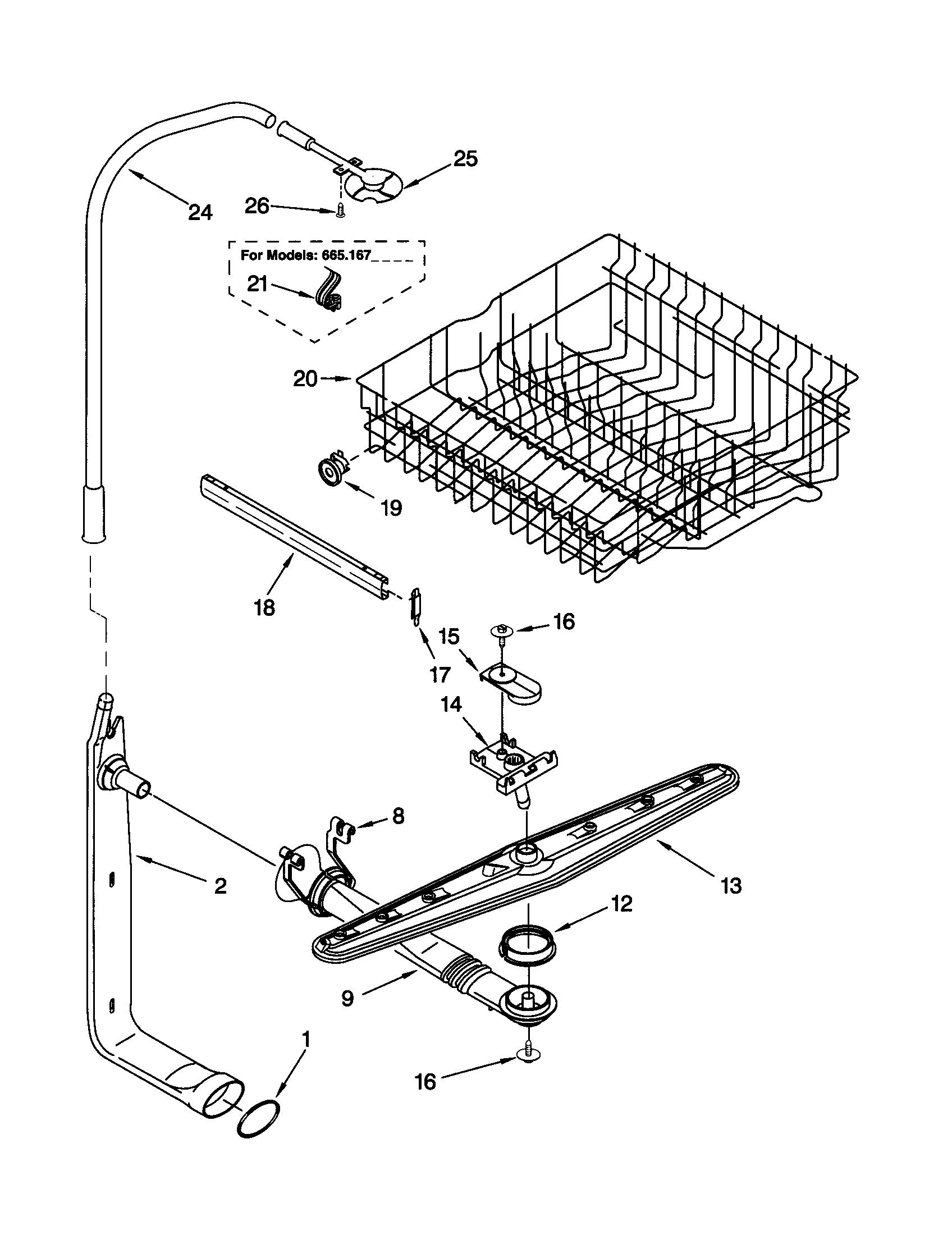 kenmore 665 16639000 dishwasher dishrack assembly  upper