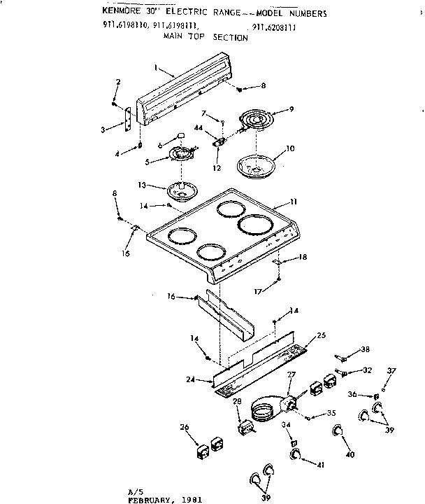 Kenmore 911 6198110 Surface Burner Receptacle Kit