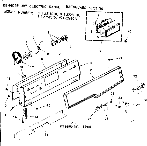 Kenmore 911 6258010 Surface Burner Infinite Switch