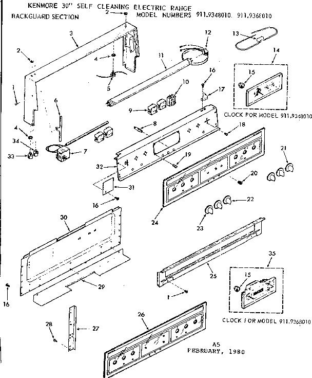 Kenmore 911 9368010 Surface Burner Infinite Switch