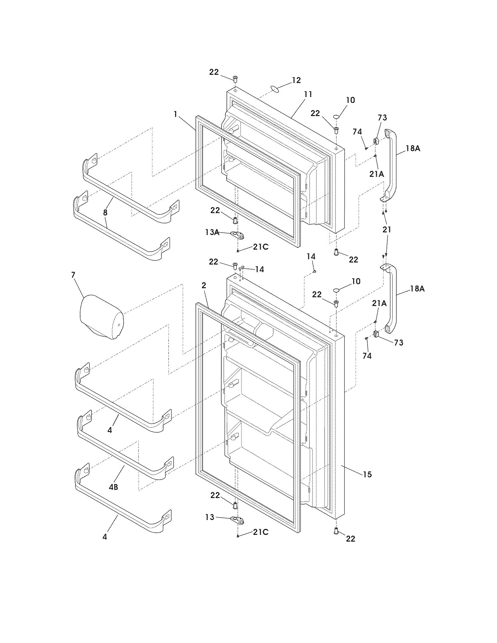 crosley crte181aw5 freezer door seal-gasket  white