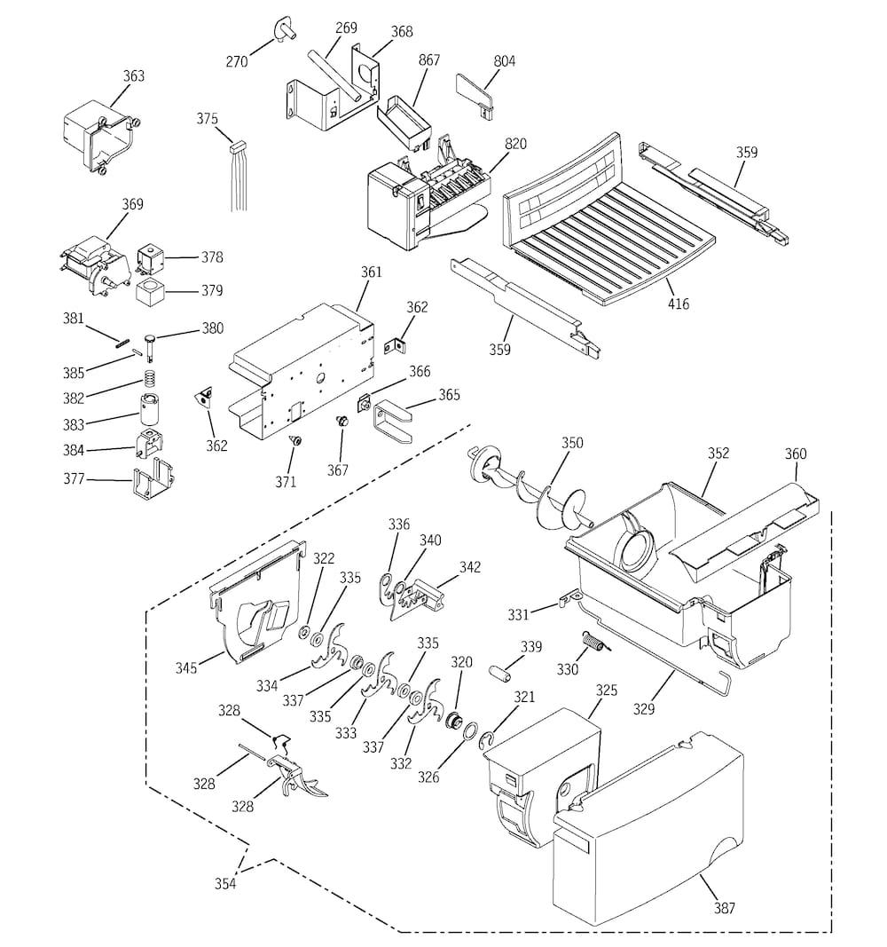 hotpoint hss25gfpaww ice maker assembly