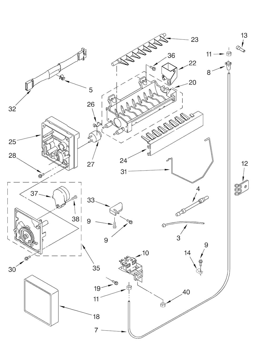 kitchenaid kscs25fkss02 replacement ice maker genuine oem. Black Bedroom Furniture Sets. Home Design Ideas