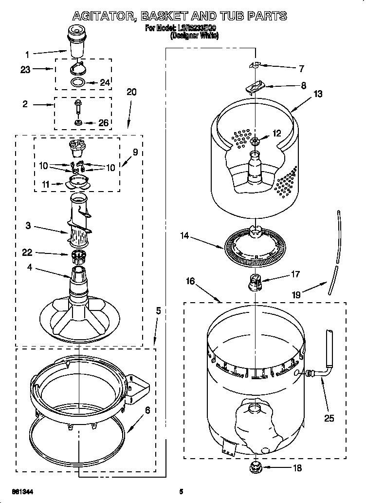 Whirlpool Lsr5233eq0 Agitator Washer