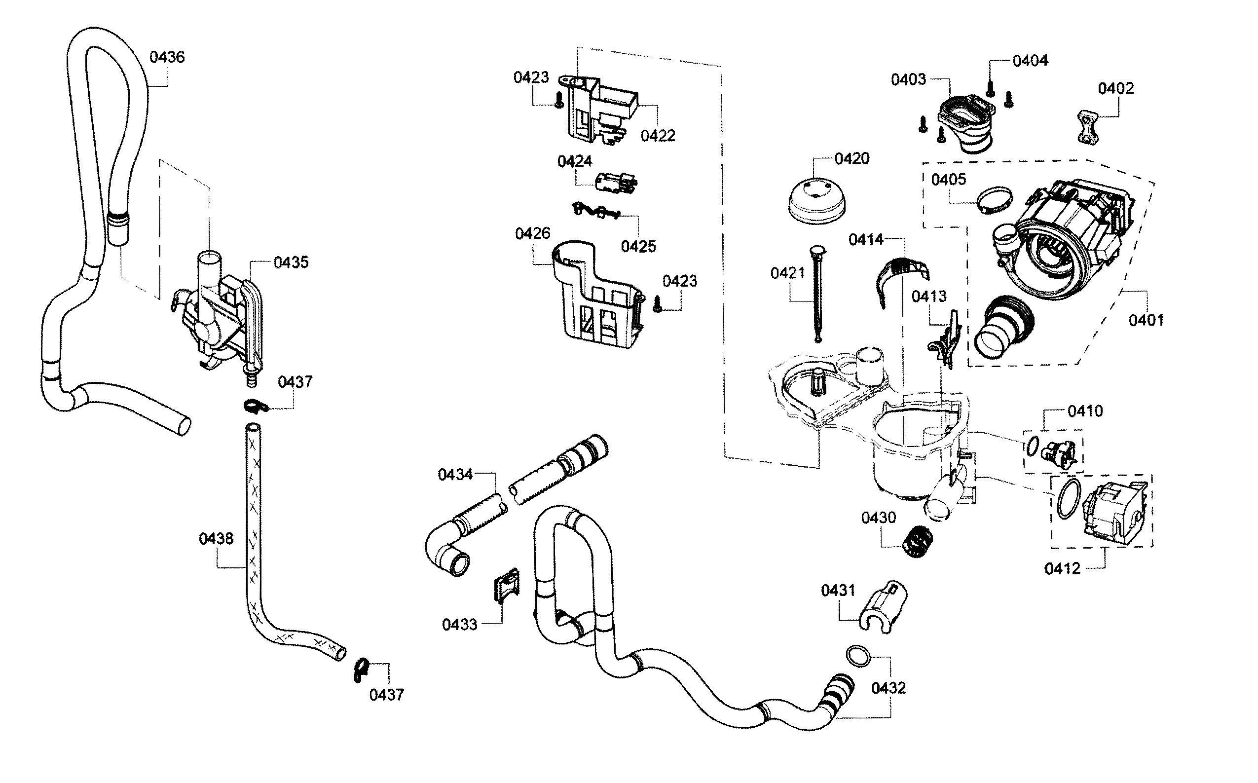 bosch shx3ar75uc  21 internal drain hose  from sump pump