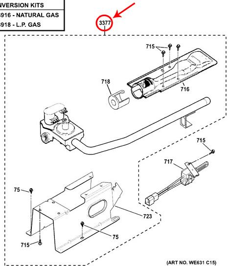 ge gtd45gasj2ws burner and gas valve assembly