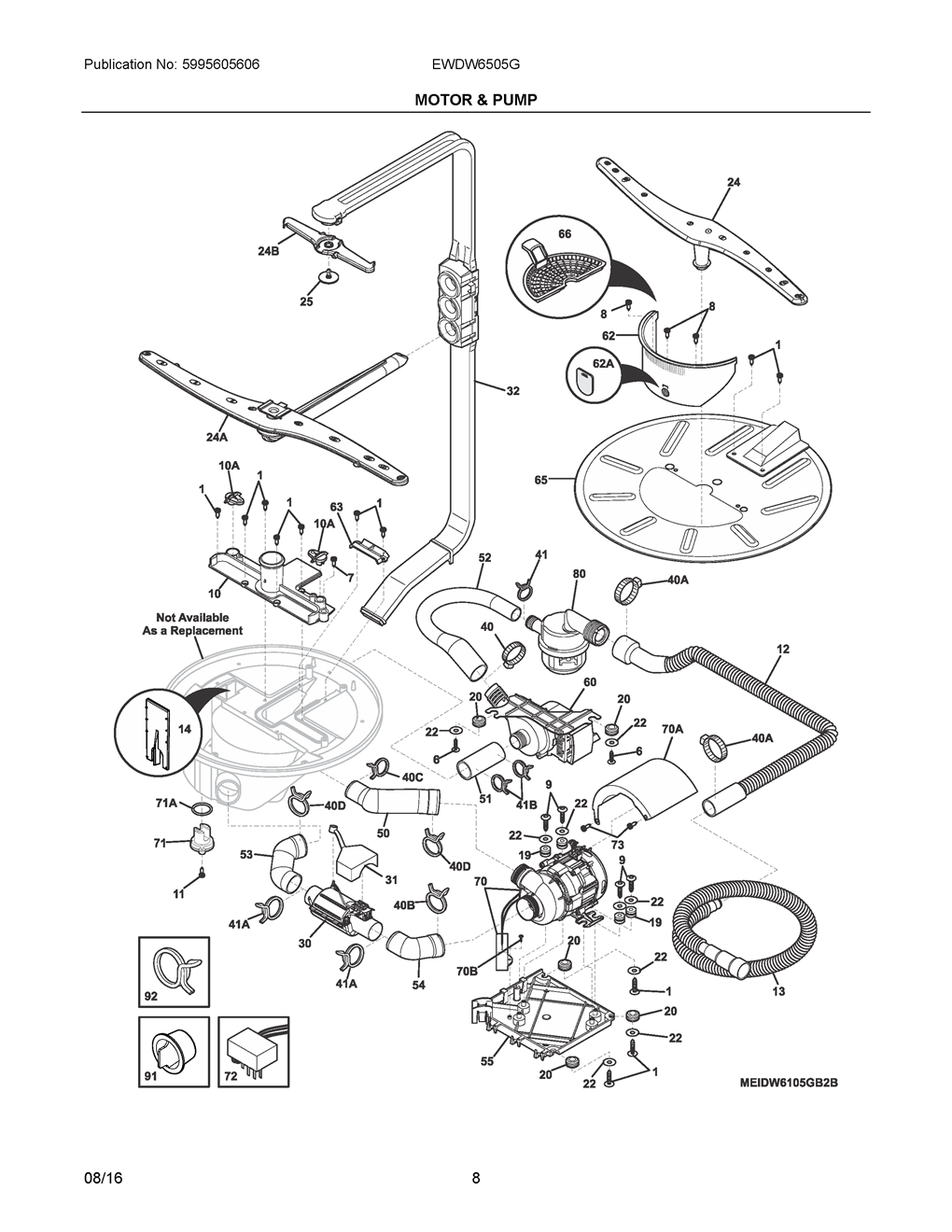 Electrolux Ewdw6505gs1c Motor And Pump Wiring Harness