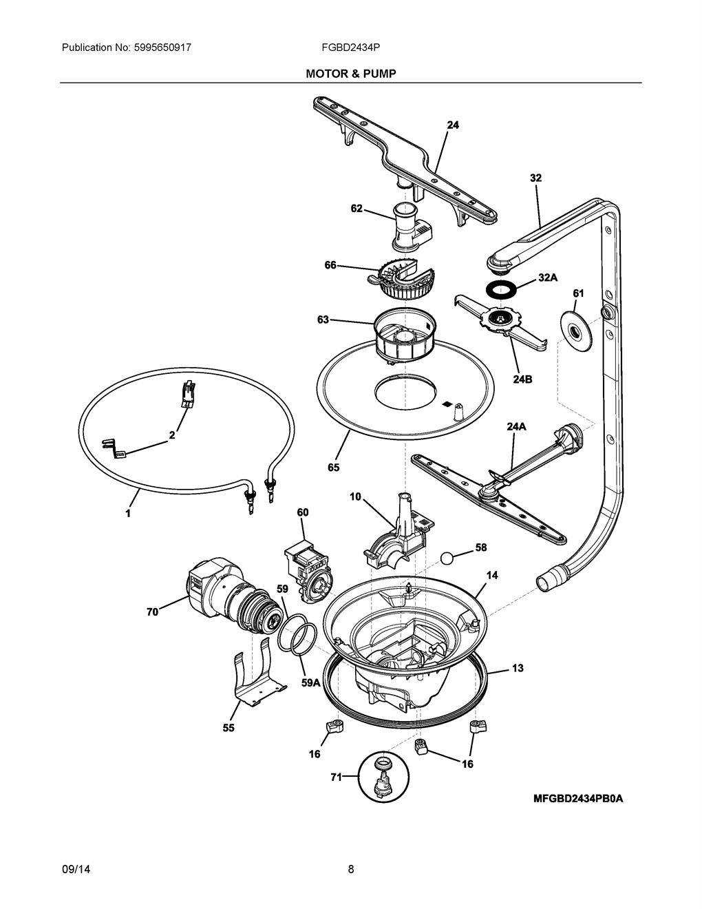 frigidaire fgbd2434pw2a pump motor bracket