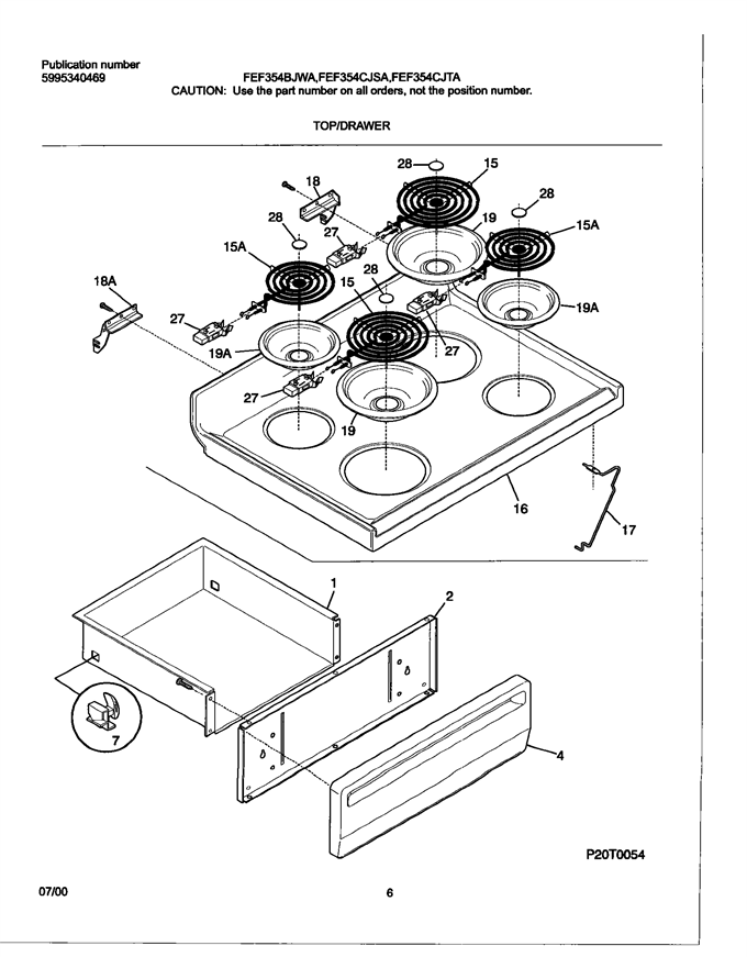 Frigidaire Fef354cjsa Oven Bottom Drawer Utility Drawer
