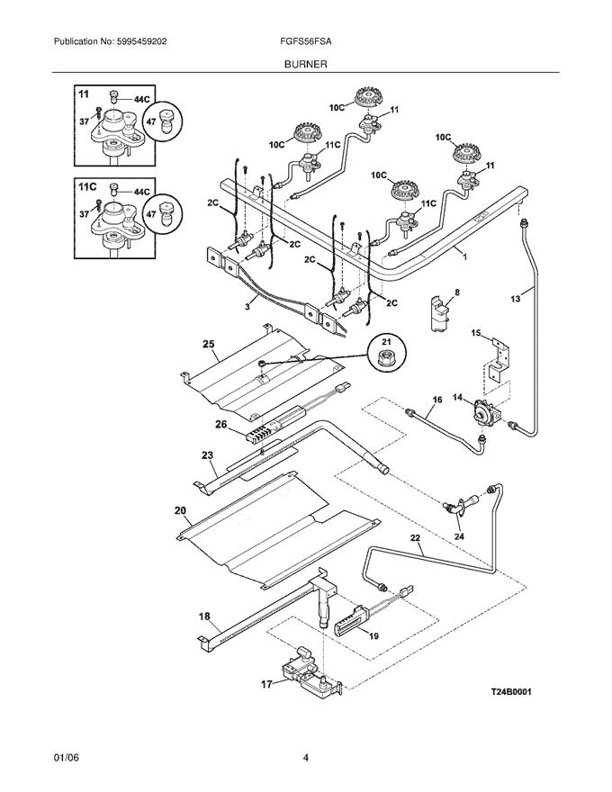 frigidaire fgfs56fsa wiring harness w   igniter switch