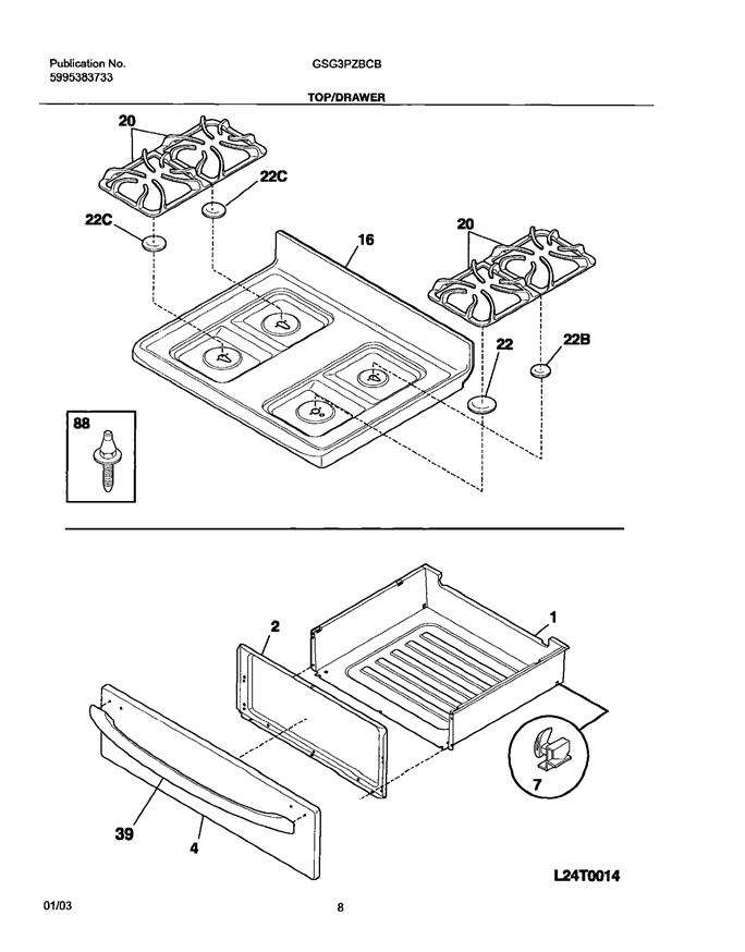 Frigidaire Gsg3pzbcb Oven Bottom Drawer Utility Drawer