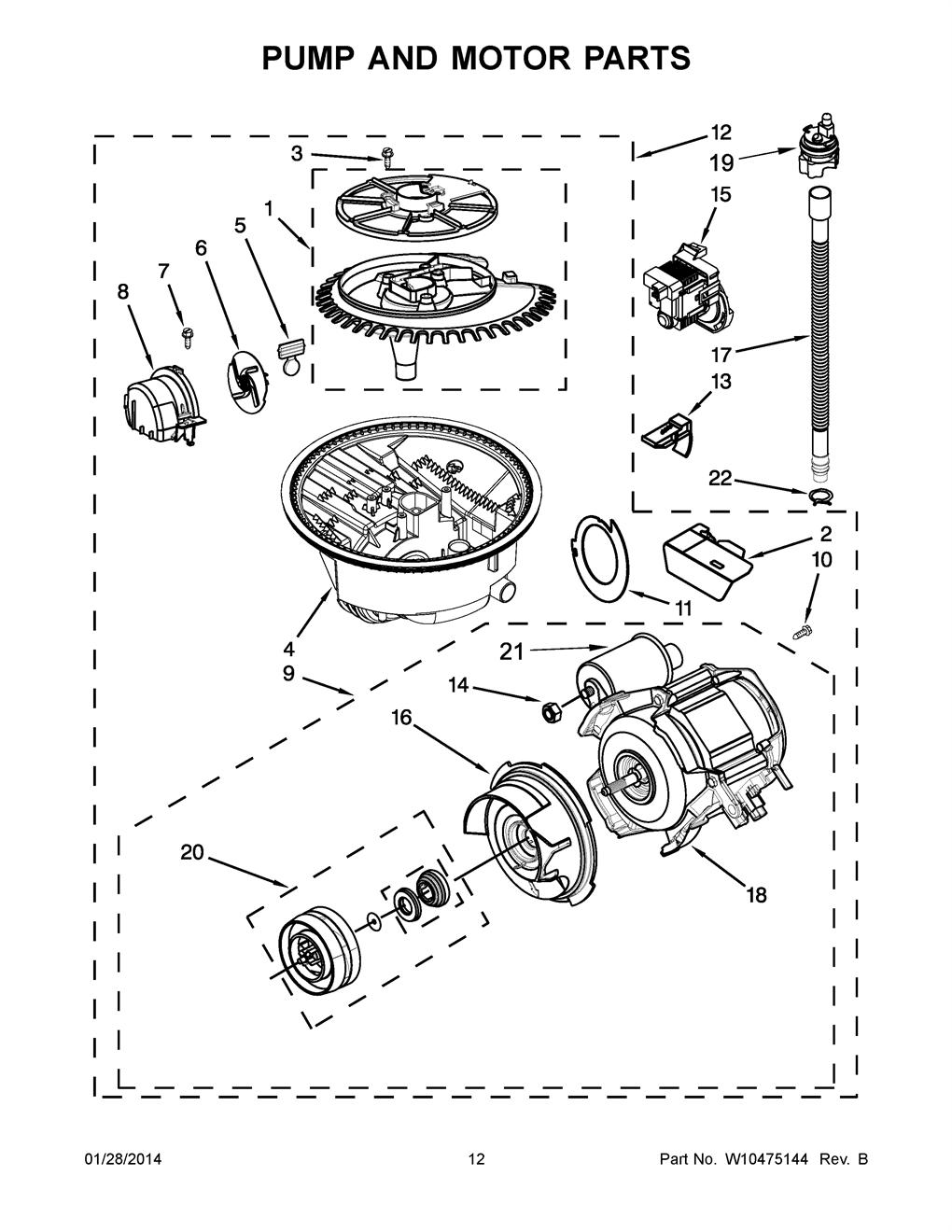 Kitchenaid Kuds30sxss4 Dishwasher Circulation Pump Motor