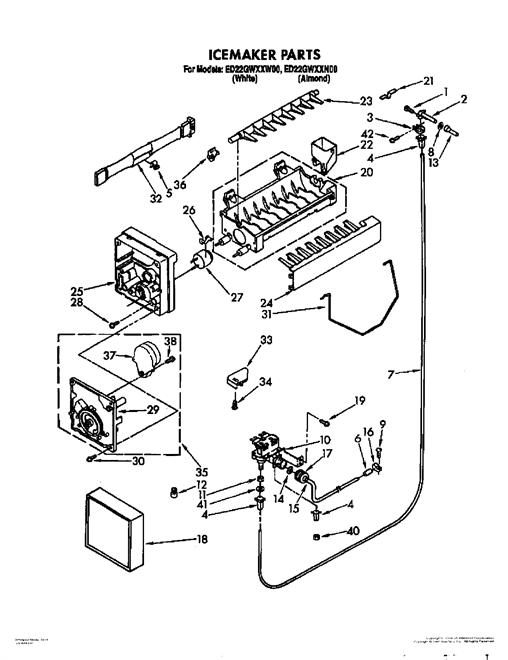 whirlpool ed22gwxxw00 ice maker wire harness