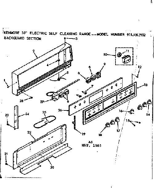Kenmore 911 9307912 Surface Burner Infinite Switch