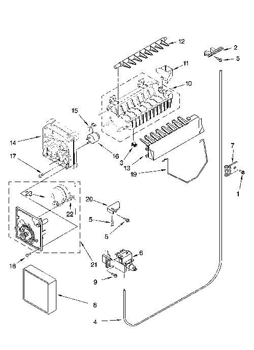 whirlpool ed5fhexvb01 icemaker motor/module kit - genuine oem schematic auger wiring whirlpool 2198954 #9