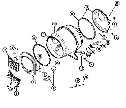 Maytag Lde8424acl Dryer Drum Tumbler Back  Rear  Genuine Oem