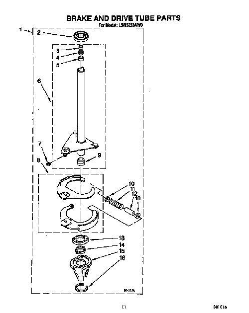 Whirlpool Lsr5233aw0 Washing Machine Brake Shoe Assembly