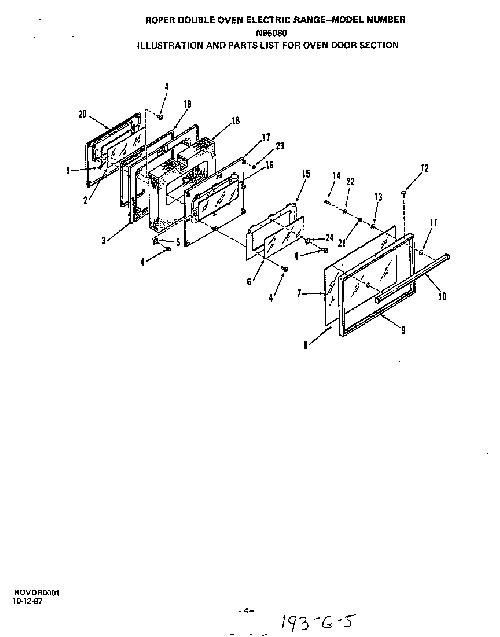 roper n96080 inner oven door glass